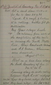 Field notes of the running out of 640 acre sections of land near Rawlins Wyoming in 1872.